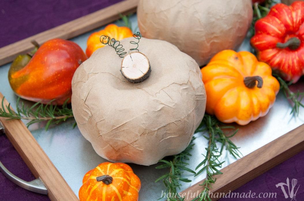 Paper bag rustic pumpkins