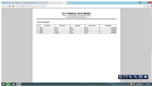 Cara Membuat Report (Laporan) PDF Dengan Script PHP Mysql