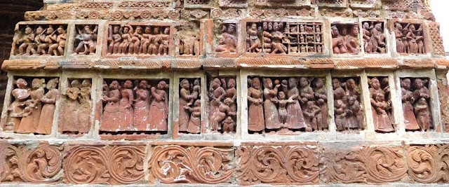 Terracotta ornamentation on the Krishna Chandraji Temple dedicated to Krishna and Radha, Kalna Rajbari Temple complex, West Bengal