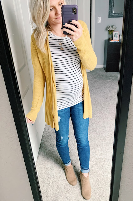 Yellow cardigan with striped shirt