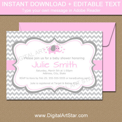 printable baby shower invitation with pink elephant and gray chevron