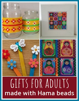 Gifts for adults made using Hama beads