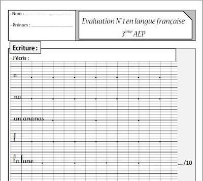 L'éxamen N 1 de la langue française - 3ème AEP