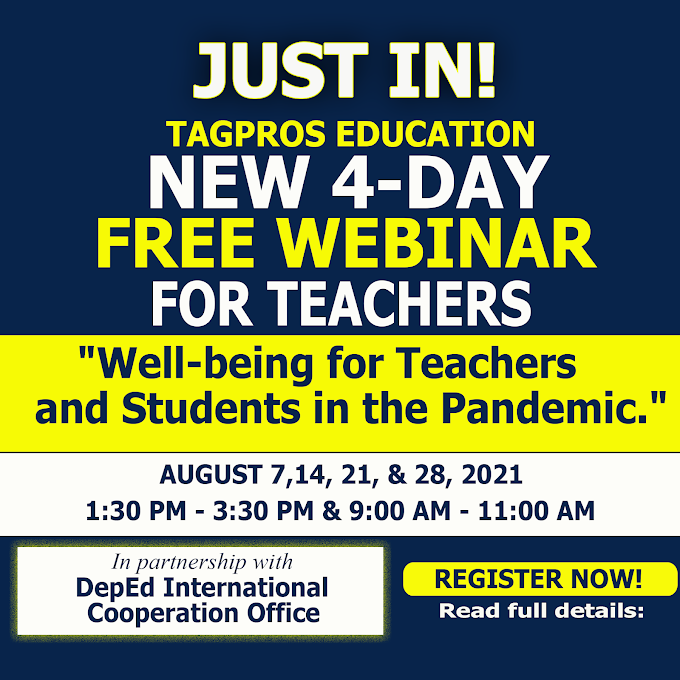 4-DAY NEW FREE WEBINAR SERIES FOR TEACHERS   AUGUST 2021   BY TAGPROS   REGISTER NOW