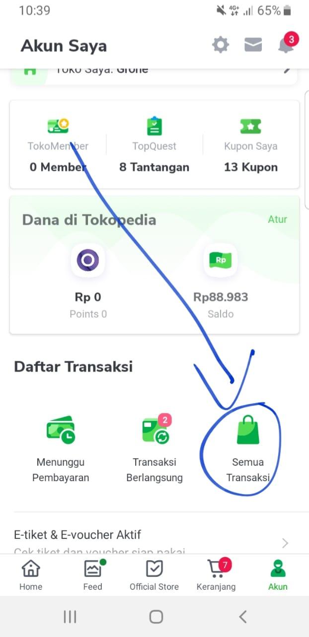 riwayat transaksi di Tokopedia