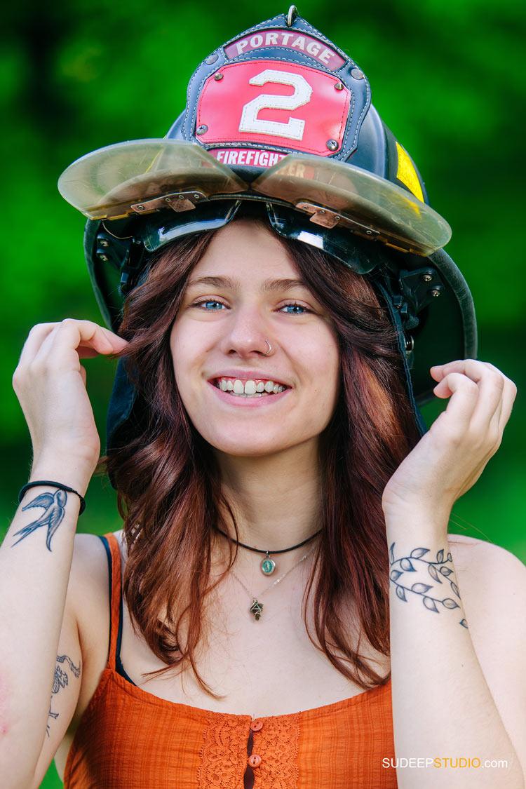 Senior Pictures with Fireman helmet by SudeepStudio.com Ann Arbor Senior Portrait Photographer