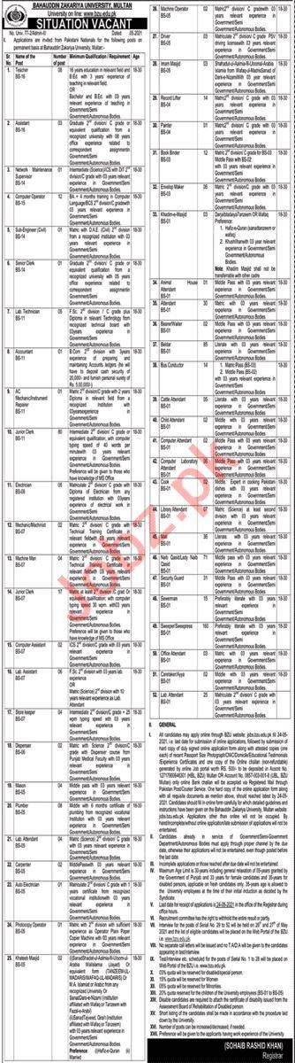 Bahauddin Zakariya University BZU Multan Jobs 2021 in Pakistan