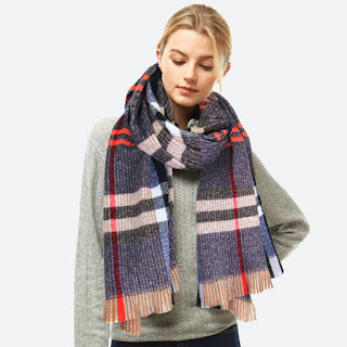 navy blue plaid cozy winter scarf with neon pink and black stripes