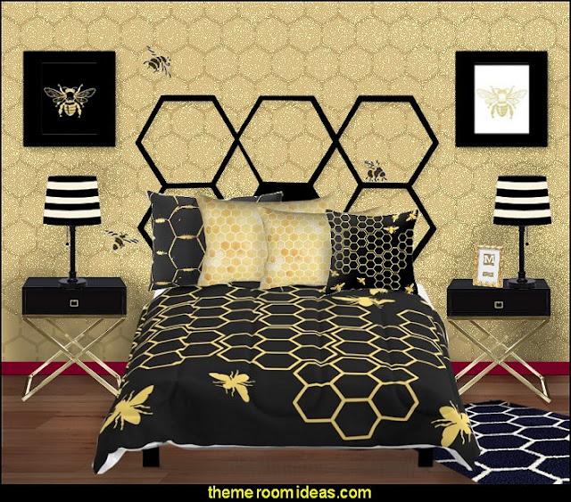 honeycomb beehive bedroom bumble bee bedrooms - Bumble bee decor - Honey bee decor - decorating bumble bee home decor - Bumble Bee themed nursery - bee wallpaper mural decals - Honeycomb Stencil - hexagonal stencils - bees in springtime garden bedroom -  bee themed nursery - black yellow bedroom ideas - Hexagon pattern -