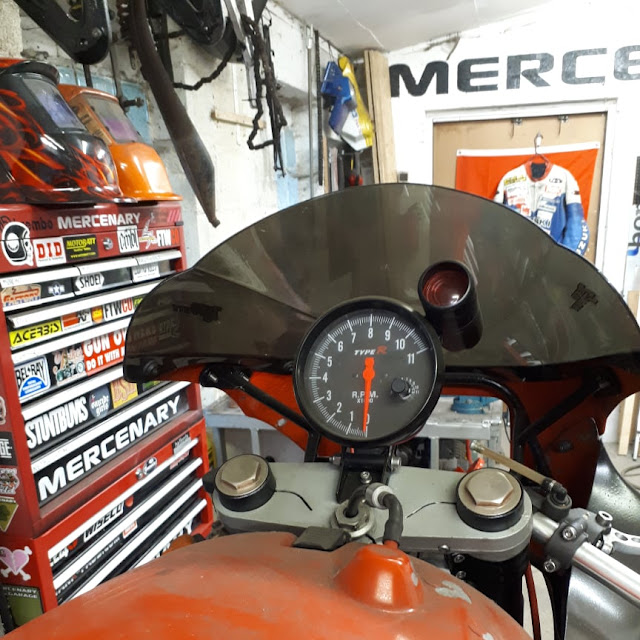 The Mercenary Ducati 900 Superlight drag-bike, awaiting an engine transplant.