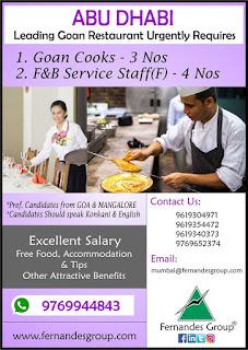 Leading Goan Restaurant Requires for Abu Dhabi