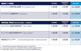 Tariffe Caneva e Movieland 2017