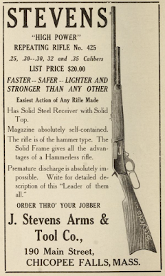 "STEVENS ""HIGH POWER"" REPEATING RIFLE No. 425 1911 Ad"