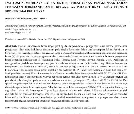 Evaluasi Sumberdaya Lahan untuk Perencanaan Penggunaan Lahan Pertanian Berkelanjutan [Paper]