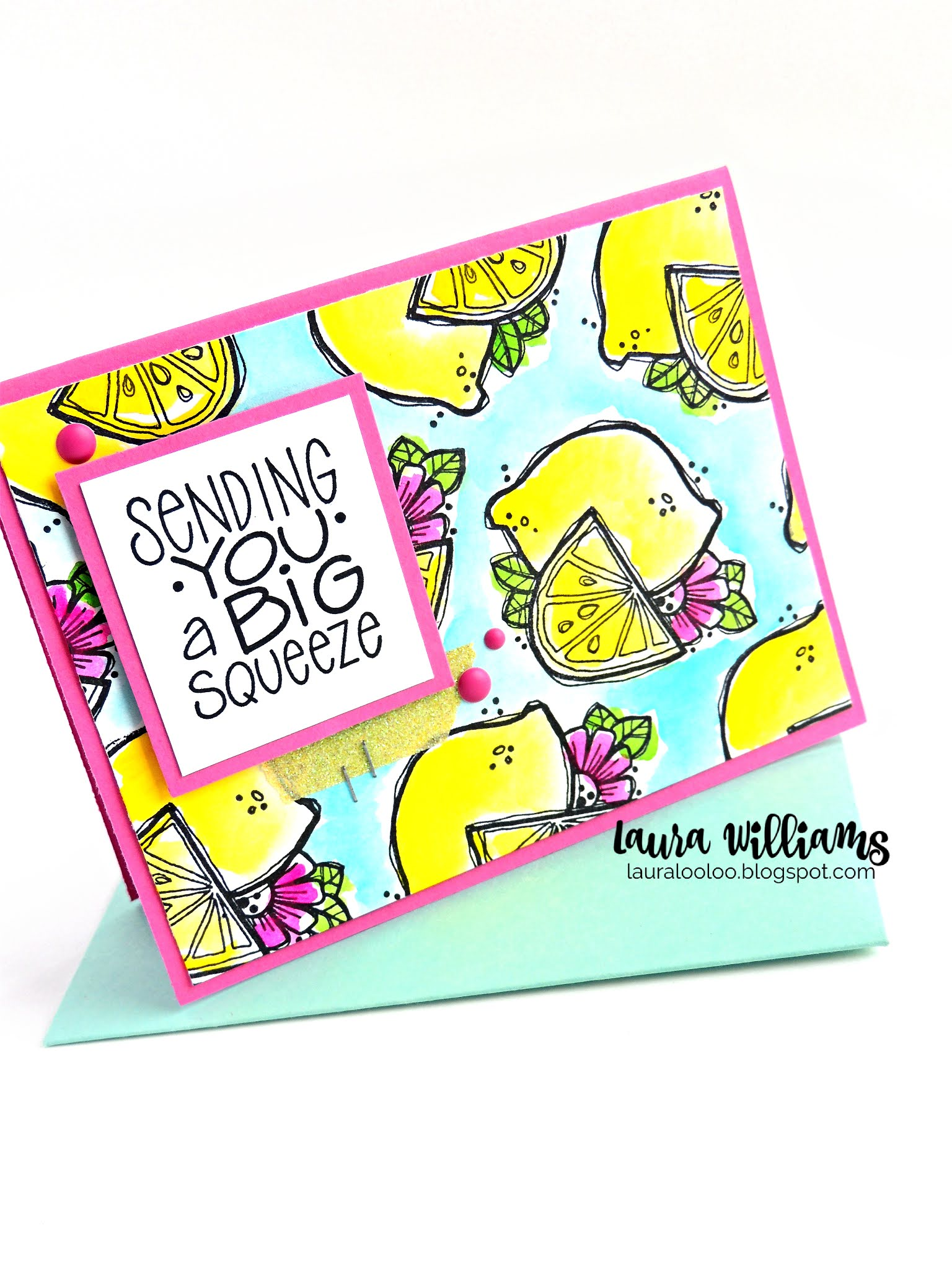 Make a fresh summer handmade card with lemon stamps from Impression Obsession and watercolor paints for a colorful and fruity fun card making project. Stop by my blog to see all the details on this summery handmade card idea!