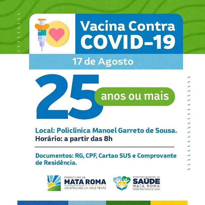 Vacina Contra Covid-19 na Policlínica Manoel Garreto de Sousa no dia 17 de agosto para pessoas com 25 anos ou mais.