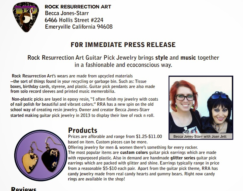 Press Kit for Rock Resurrection Art