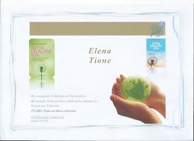 Elena Tione | Diploma licenza  metodo Tutta un'Altra Relazione® di Lucia Giovannini, anno 2015  abilitazione facilitatore & coach