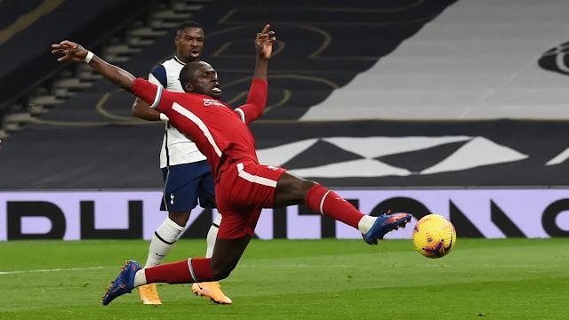 Liverpool forward Sadio Mane in action against Totenham
