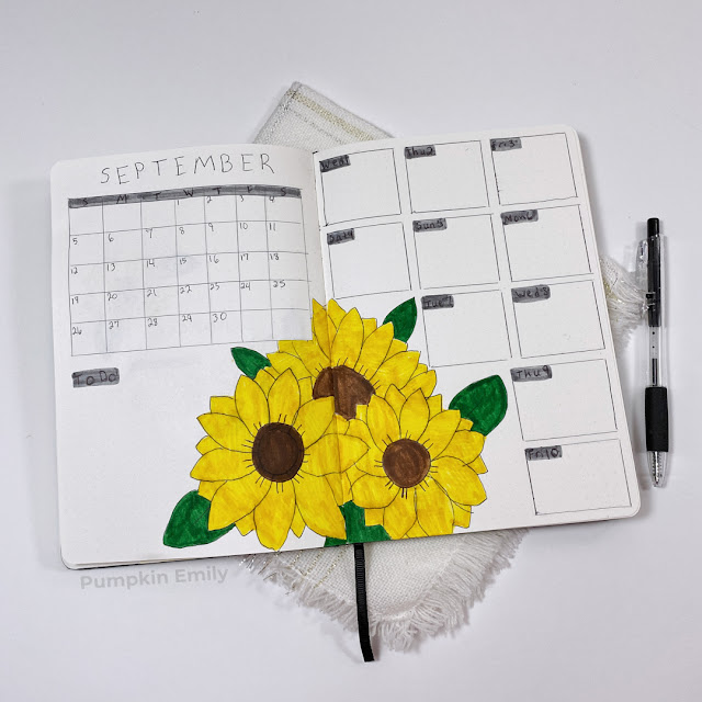September sunflower themed calendar and weekly spread