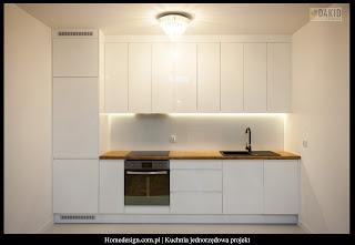 kuchnia jednorzędowa - biała lakierowana