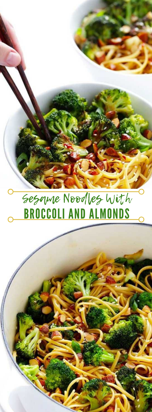 SESAME NOODLES WITH BROCCOLI AND ALMONDS #vegetarian #dinner #lunch #broccoli #noodles