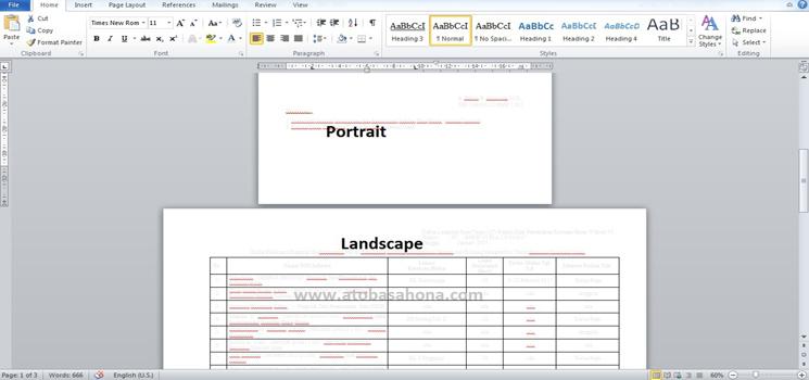 Cara Membuat Ukuran Portrait dan Landscape Dalam Satu File Microsoft Word