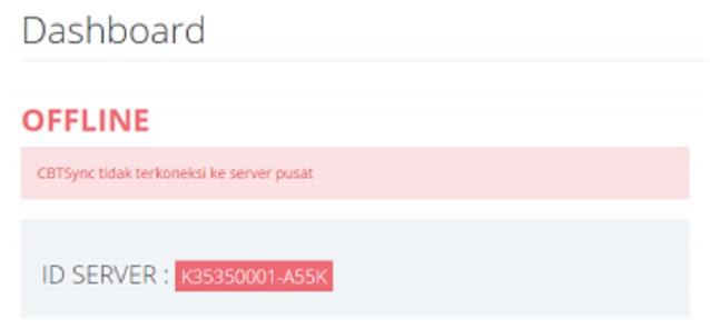 Status Dasbor CBTSync ANBK Off line