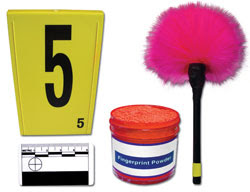 Several crime scene investigation tool, such as markers, fingerprint powder and dust, and a rulers.