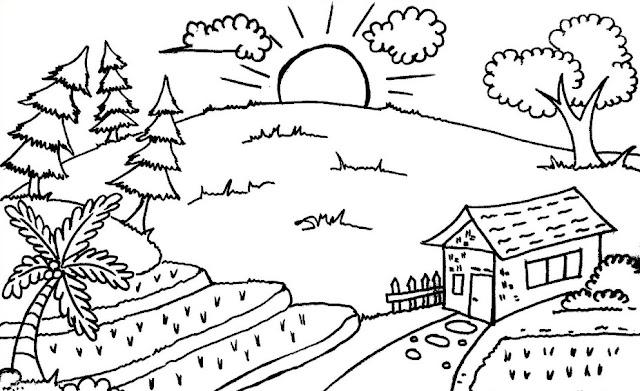 Download Sketsa Gambar Pemandangan