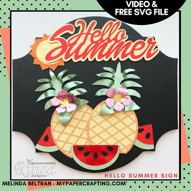 Hello Summer Sign with Rinea Foil Paper, FREE SVG