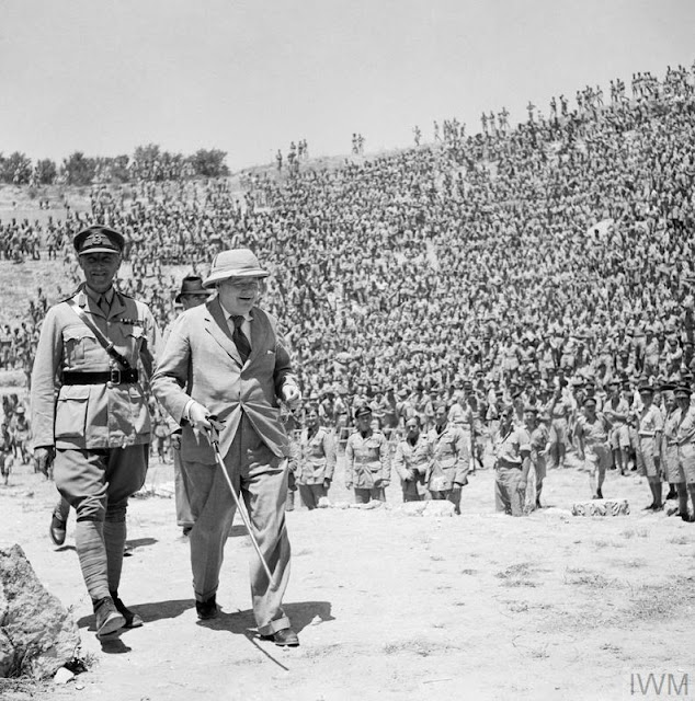 Churchill & General Anderson address British troops in Tunisia