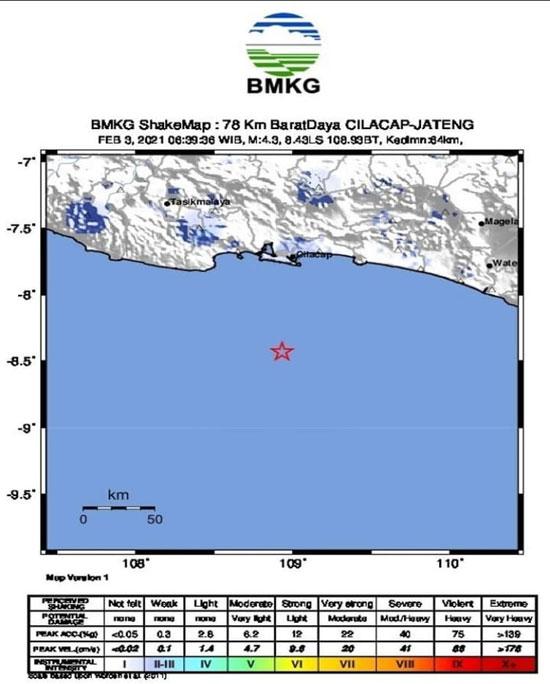 Pagi Ini Cilacap Diguncang Gempa 4.3 Magnitudo