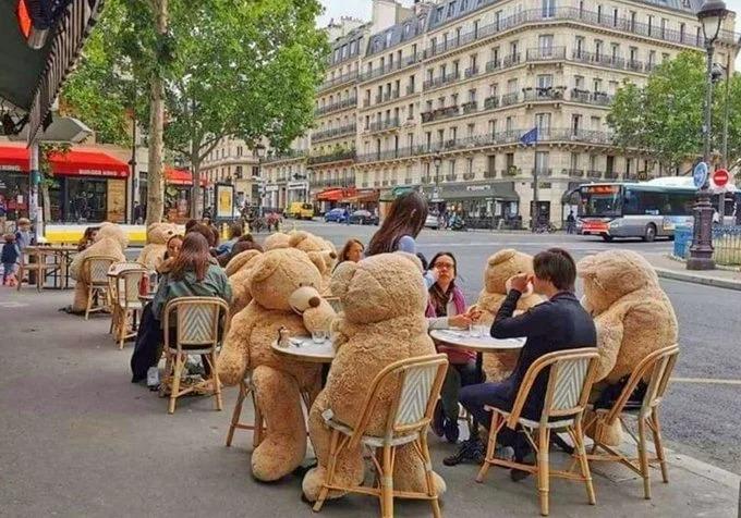 Café en París usa enormes osos de peluche para mantener a los clientes distanciados