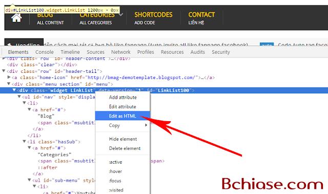 Chuyển Menu từ Widget Linklist sang Menu HTML tĩnh 2