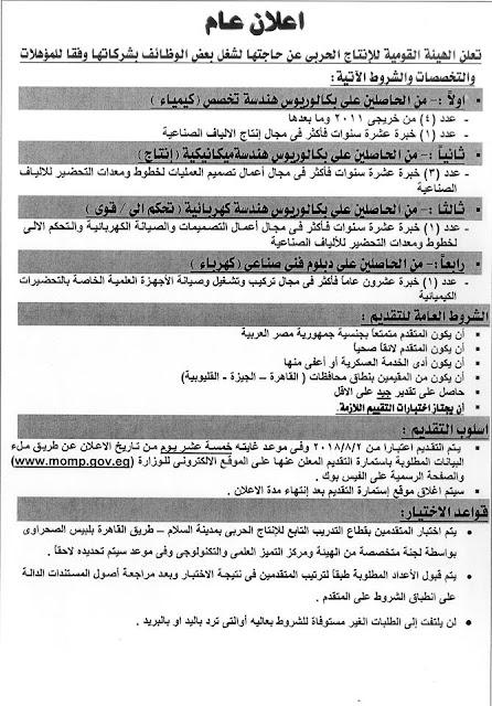 وظائف وزارة الانتاج الحربى