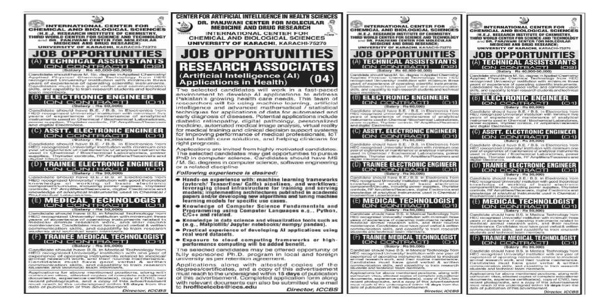 International Center For Chemical and Biological Sciences ICCBS Jobs 2021 Karachi