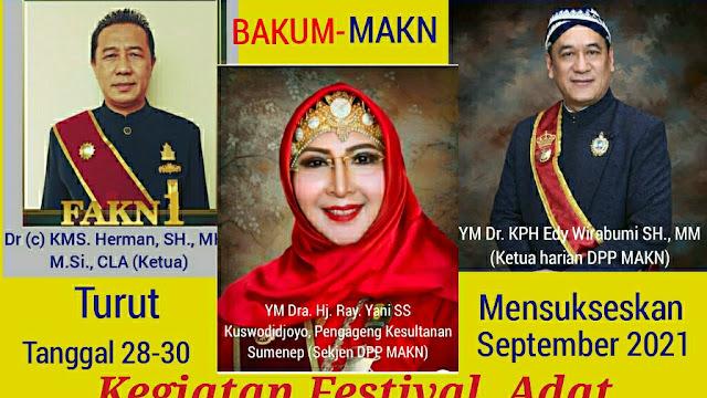 BAKUM MAKN Turut Mensukseskan Kegiatan Festival Adat Kerajaan Nusantara(FAKN) Yang Perdana  September 2021 Mendatang