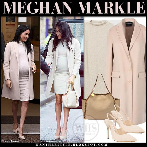 Meghan Markle in beige emporio armani coat, beige knit hm dress and beige manolo blahnik pumps royal maternity style january 16