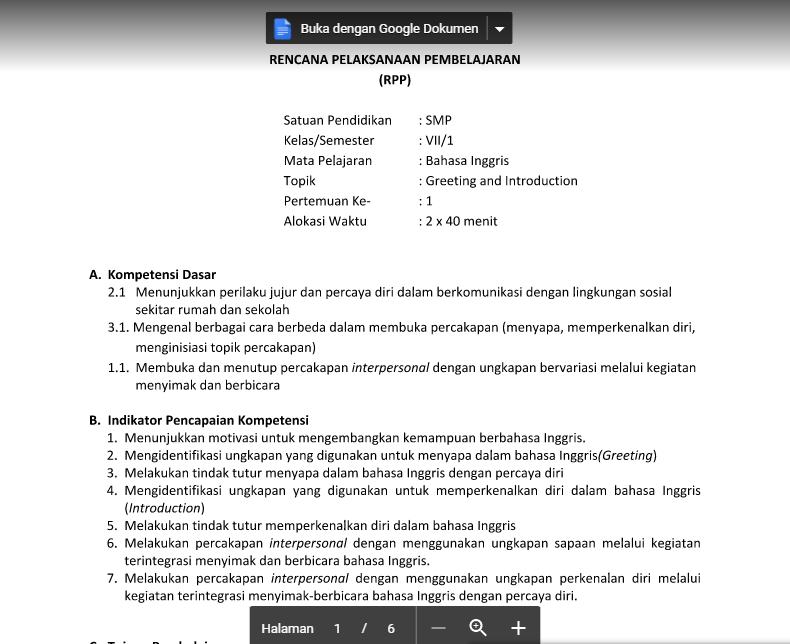 Contoh Rpp Bahasa Inggris Kls 1 Smp Semester 1 Rofi Mustawan