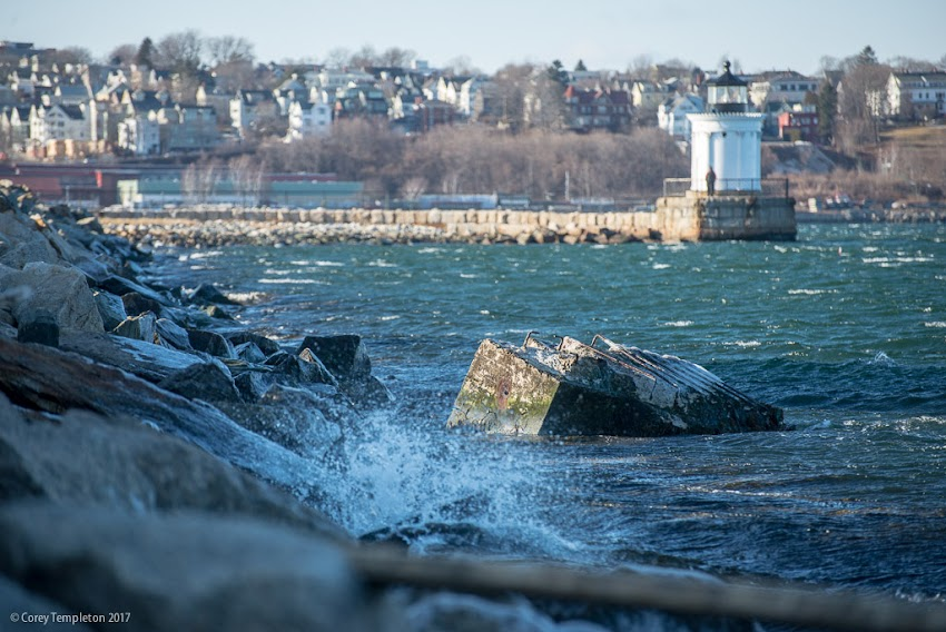 South Portland, Maine USA March 2017 photo by Corey Templeton. The icy shores of South Portland, looking north towards Bug Light.