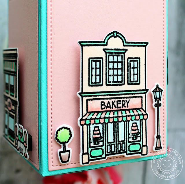 Sunny Studio Stamps: Wrap Around Box Dies Sweet Script Sweet Shoppe Treat Box by Vanessa Menhorn