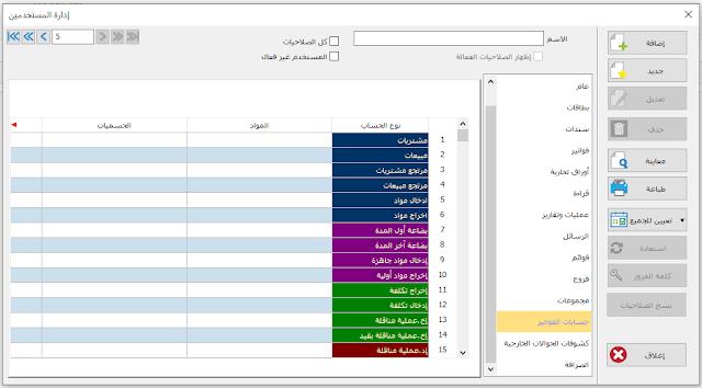 حسابات الفواتير - إدارة المستخدمين - برنامج الأمين للمحاسبة