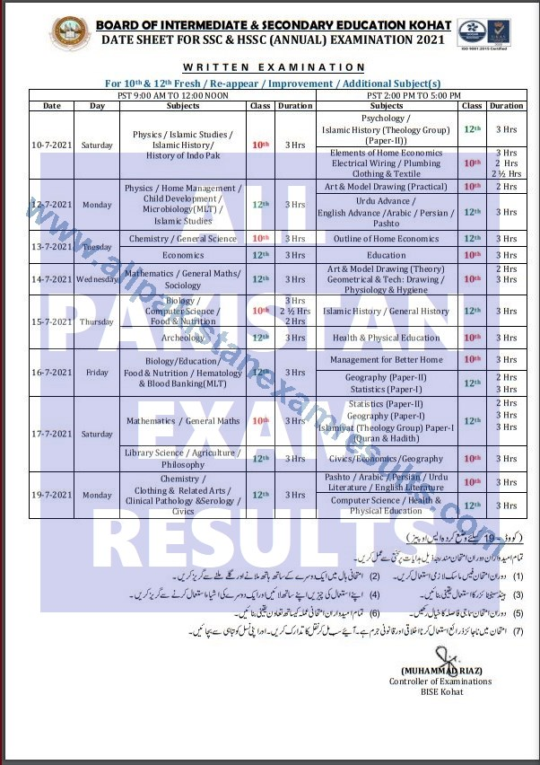BISE Kohat Date Sheet For SSC and HSSC 2021 Annual Exam