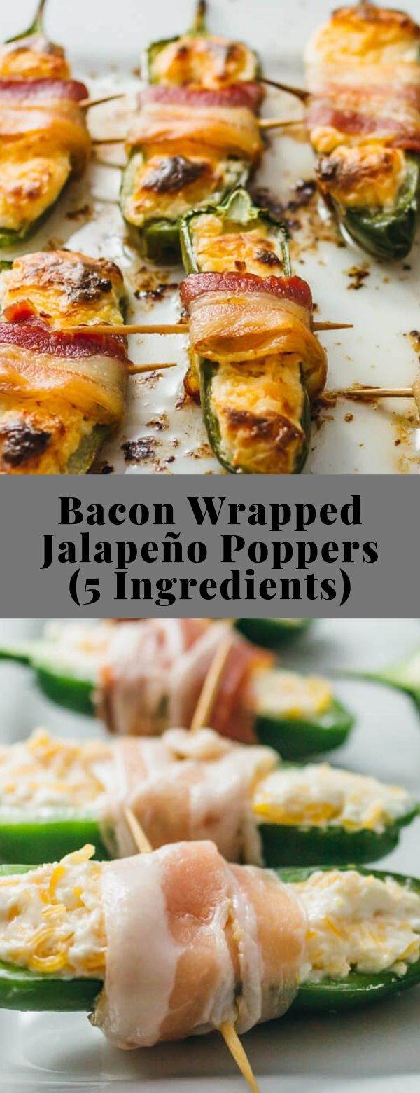 Bacon Wrapped Jalapeño Poppers (5 Ingredients) #bacon #lowcarb #keto