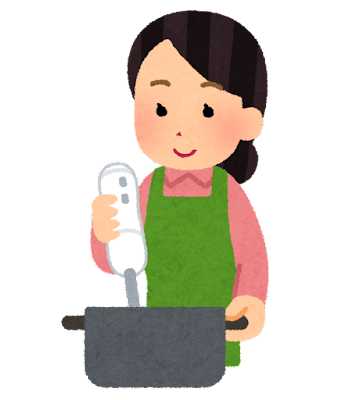 Cooking handblender woman
