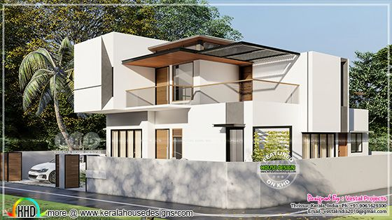 Modern Kerala house right side view 3d rendering