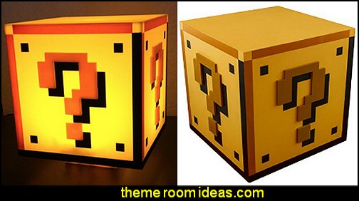 Super Mario Brothers Question Block light  Gamer bedroom - Video game room decor - gamer bedroom furniture - gamer wall decal stickers - Super Mario Brothers Wall Stickers - gamer bedding - Super Mario Brothers -