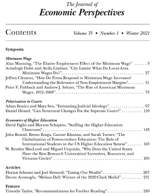 Winter 2021 Journal of Economic Perspectives Available Online