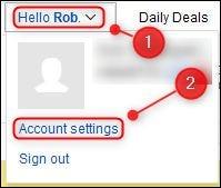 """خيار القائمة """"إعدادات الحساب"""" في eBay."""